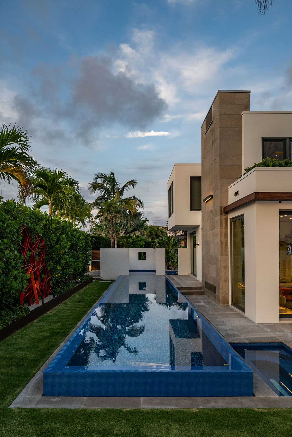 Pool in backyard of Palm Beach Luxury Design Project